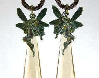 Green Fairy Earrings, Dangle Fairy Earrings, Fairy Hoop Earrings, Enchanted Fairy Earrings, Wire Wrapped Fairy Earrings, Woodland Earrings