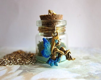 Blue Fairy Necklace, Glow In The Dark Fairy Pendant, Fairy Bottle Necklace, Enchanted Fairy Jewelry, Fairy Statement Necklace, Gift For Her