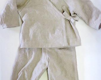Linen Baby and Toddler Kimono Pajama Play Set in Natural Flax