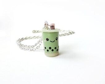 Polymer Clay Matcha Green Tea Bubble Tea Necklace Boba Drink Charm