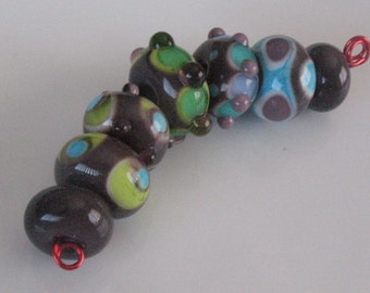 Lampwork beads-bead set-handmade lampwork SRA-beading supplies-jewelry supplies-glass beads