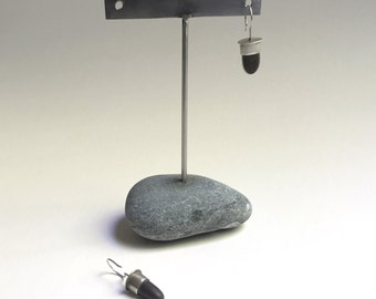 Post or Ear Wire Earring Display T Rack Holder Natural Lake Erie Beach Stone Stainless Steel Rock Jewelry Stand h