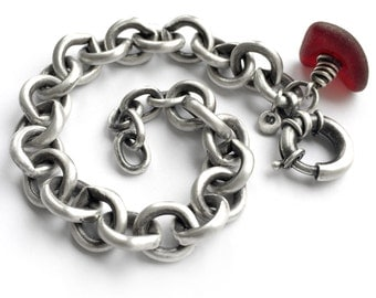 Rare Red Seaglass Beach Glass Sterling Silver Heavy Vintage Cable Chain Charm Bracelet Puerto Rico Glass
