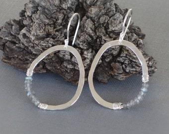 Labradorite Earrings, Large Silver Organic Oval, Grey Earrings, Silver Earrings, Shiny