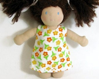 Waldorf doll dress for 10 to 12 inch doll, orange flower Aline dress, doll dress, easy dressing doll dress