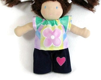 10 inch Waldorf doll outfit, flower power doll shirt and your choice of pants, doll shirt and cords or jeans, handmade doll clothes,