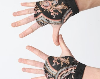 Black patterned fingerless gloves, Floral gauntlets in black cotton with pink beige blue print