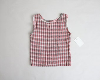 plaid stretch top | smocked cotton top | grey & pink plaid
