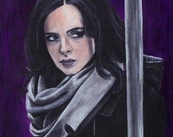 Jessica Jones Marvel Netflix Krysten Ritter Acrylic Painting Art Print 11.7 x 16.5 inches