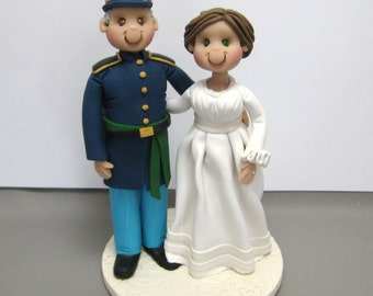 DEPOSIT for Custom made Polymer Clay Civil War Era theme Wedding Cake Topper