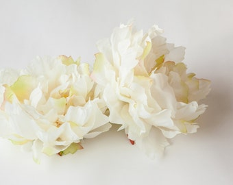 EXTRA LARGE Ivory Cream Peony - 7 inches -- Artificial Silk Flower - ITEM 0309  - Less Than Perfect
