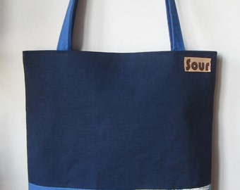 ON SALE Chasing Light // Navy Blue Canvas, Indigo,Light Blue, Nautical and Golden Yellow Tote Bag