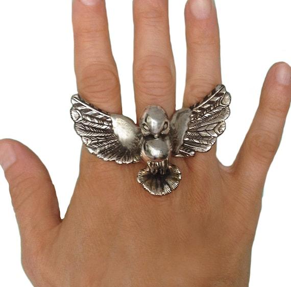 Bird Ring silver gold birdie statement