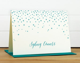 Personalized Stationery Set / Personalized Stationary Set - NIGHT Custom Personalized Note Card Set - Stars Elegant Modern