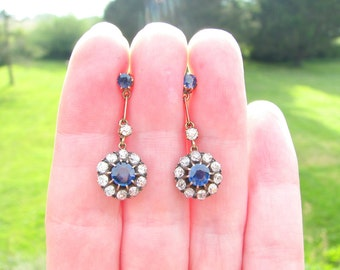 Gorgeous Antique Diamond Sapphire Halo Drop Earrings, Fiery Old Cut Diamonds, Bright Blue Sapphires, 14K Gold, Posts For Pierced Ears