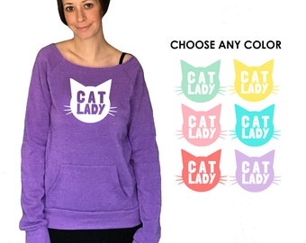 Cat Lady Slouchy One-Shoulder Sweatshirt - Gift for Her, Cat Mom, Cat Lover, Animal Lover, Kitty Fan, Meow, Cat Crazy, Christmas Gift