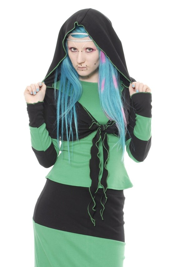 Gothic Stripy Pixie Hood Shrug ~ Boho ~ Hippy ~ Fae ~ Festival ~ Sizes 6 to 30 ~ Last Chance to Buy