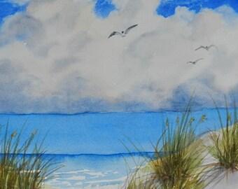 Florida Beach Seascape, Sand and Sea Oats, Gulf Clouds, 11 x 11 inches, Coastal Wall Art, Ocean Painting, Sea Gulls Landscape