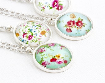 Sweet Necklace - Floral Jewelry - Flower Pendant - Shabby Chic Style - Feminine Necklace - Silver Necklace - Pretty Jewelry - Gift For Her