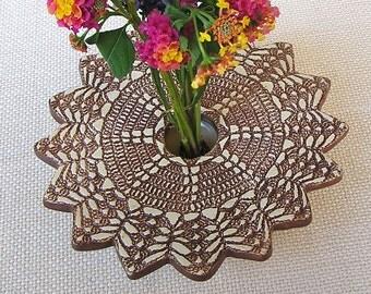 Ikebana Vase, Handmade Pottery Vase, Ceramic Flower Vase, Pin Frog Vase, Doily Lace Vase, brown