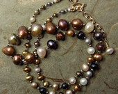 Hand knotted multi color fresh water pearls and 14k gold filled beaded necklace