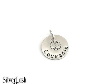 Medical Alert Charm Sterling Silver Personalized for You