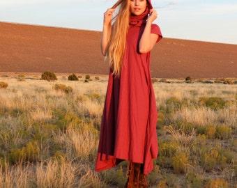 ORGANIC Chunky Cowl Wanderer Below Knee Dress - ( organic tissue cotton knit ) - organic cotton dress