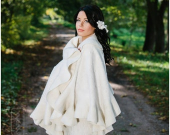 Felt Felted shawl - Bridal shawl - Elegant white Wavy Ruffle scarf - 2 in 1 Two side wearable