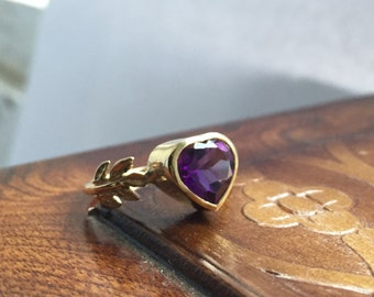 Amethyst and 14kt Yellow Gold- The Fire Leaf Ring