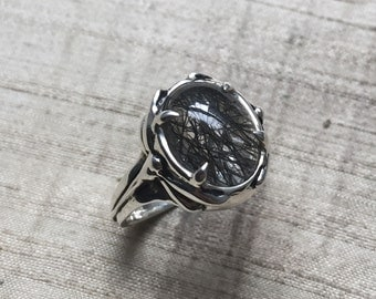 SALE Tourmalated Quartz and Sterling Silver- Damselfly Ring