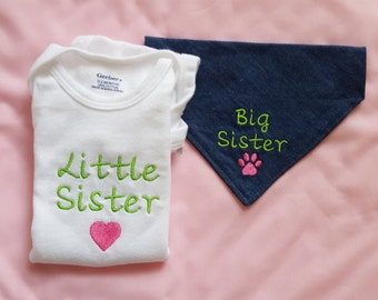 Big Brother Or Big Sister Dog Bandana with Little Sister Baby Bodysuit,New Baby Gift,Embroidered,Shower Gift, Baby Announcement,Dogs,Infants