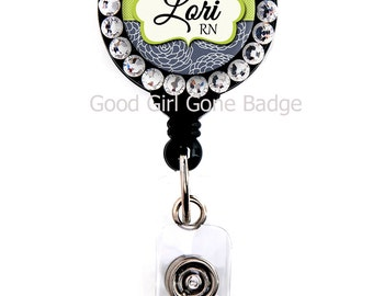 Retractable Badge Reel - Navy Blue Mum - Personalized Name with Swarovski Rhinestones