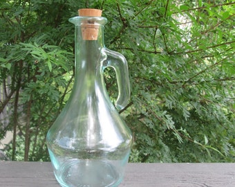 Vintage Heavy Glass Cruet/ Pitcher - Pale Green Glass Cruet