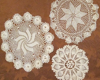 Three Vintage Doilies- Hand Crocheted -  Creamy White