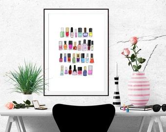 30 Nail Polishes Fashion Illustration Art Poster