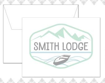Lake stationery set of 10 folded cards and envelopes, Woodland Stationery, Canoe & lake stationery set, Lakeside stationery, Cabin notecards