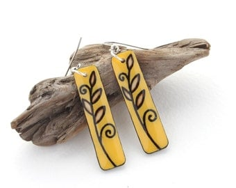 Long Rectangle Wood Dangle Earrings, Yellow & Brown, Everyday Simple Earrings, Fall Colors, Lightweight, Hypoallergenic for Sensitive Ears