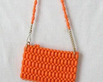 Orange Purse 60s Mod Beaded Purse Shoulder Bag Deadstock Vintage New Old Stock