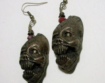 Zombie, Shrunken Head, Walker, Wolf, Zombie Head Earrings
