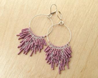 Silver Fringe Hoop Earrings - Lilac