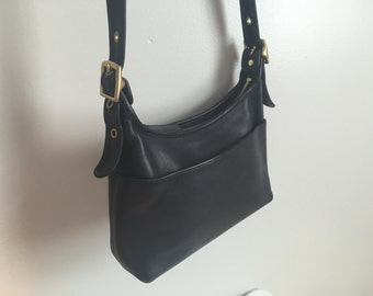 Coach Legacy Pocket Hobo Black Leather Purse.