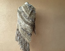 Navajo Blanket Scarf Style of Warm Shawl, Large Shawl, Beige Shawl Hand Knit for Women with Black, Ivory Off White, Taupe Shawl, Fringe Wrap