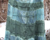 Batik skirt hippie blue green tie dye large India cotton