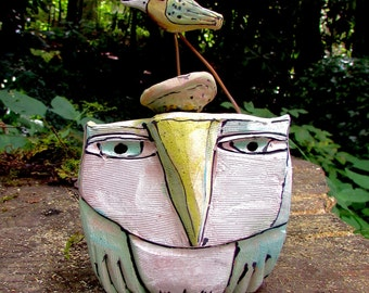 Owl Sculpture, Owl Art, Ceramic Owl, Whimsical Owl art, Handmade Blue Fire MacMahon