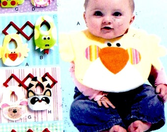Woodland baby bibs New Mom Shower gifts Raccoon Lamb Lizard Ladybug sewing pattern McCalls 6661 UNCUT