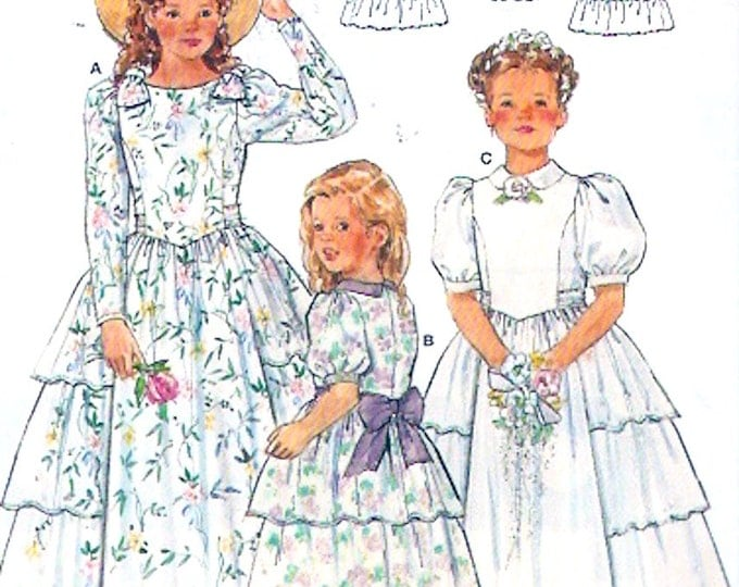 Country prairie Flowergirl dresses ruffled side frock for young girl to young teen sewing pattern Burda 4617 UNCUT Size 4 to 16
