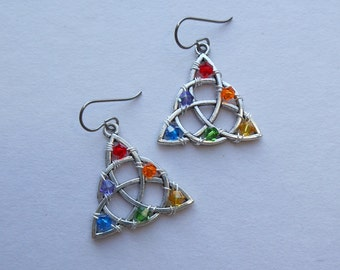 Rainbow Pride Celtic Triangle Earrings -- Rainbow Swarovski Crystals, Wire Wrapped Antiqued Silver, Celtic Knotwork, Titanium Ear Wires