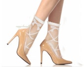 Ultrathin Transparent Beautiful Crystal Lace Elastic Short Socks - Off white with bow tie.Fit size 5-9.5 US women Shoe