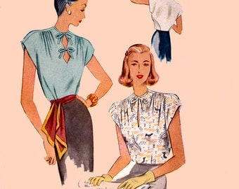 1940s Tailored Swing Era Blouse Diamond Keyhole Neckline Shirred Shoulders McCall 6818 Vintage 40s Sewing Pattern Size 12 Bust 30 Uncut