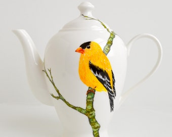 Golden Finch Teapot - Hand Painted Teapot, Yellow Finch, American Finch, Finch Platter, Mother's Day Gift, Finches, Yellow Birds